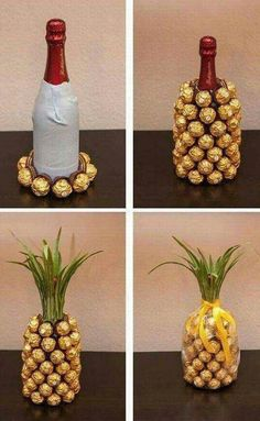 Wrap a bottle of wine and create a ferrero rocher pineapple Mitbringsel: Rocher-Sekt-Ananas Mitbringsel: Rocher-Sekt-Ananas I think you could do this with a coke bottle. Mitbringsel: Rocher-Sekt-Ananas is creative inspiration for us. Get more photo about Pineapple Gifts, Wine Pineapple, Pineapple Craft, Pineapple Centerpiece, Navidad Diy, Ideas Navidad, Craft Gifts, Food Gifts, Christmas Crafts