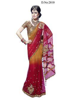 Lavish Butta Saree with Brocade Blouse,Petticoat