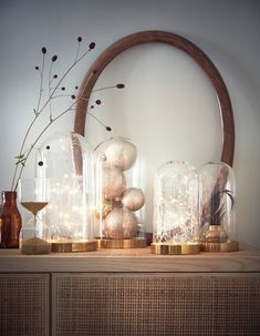 Arrange a delicate, battery powered light chain inside a decorative glass dome, and display it alongside other glass domes filled ornaments. French Home Decor, Cute Home Decor, Indian Home Decor, Home Decor Kitchen, Cheap Home Decor, Home Decor Items, Home Decor Accessories, Interior House Colors, Home Interior Design