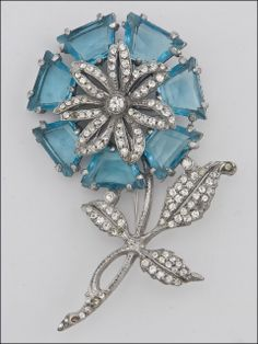 Vintage Rhinestone & Crystal Flower Brooch