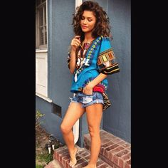 """For #BlackOutDay, Zendaya posted a photo of herself on Instagram with natural curls. """"#BlackOutDay #WeAreAllBeautiful"""""""