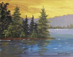 paintings of trees | ... Acrylic,Watercolor: original acrylic painting of pine trees - Day 41