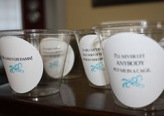 Cups with quotes from Breakfast at Tiffany's (a jewelry party theme)