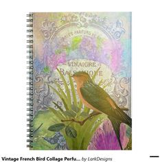 Vintage French Bird Collage Perfume Label Spiral Notebook