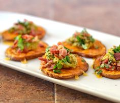 Sweet Potato Bites with Avocado and Bacon ♥ Well Plated