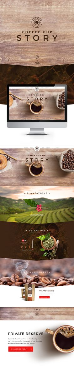 Web design. Coffee cup story.
