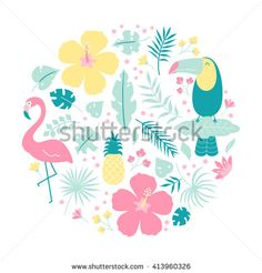 Vector clip art set, tropical birds, flamingo, toucan, pineapple, hibiscus flowers isolated on white background