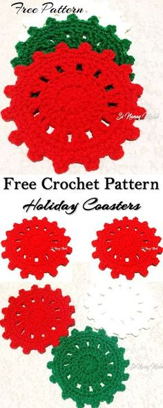 In my favorite colors red and green for Christmas. Crochet Round, Crochet Home, Crochet Gifts, Crochet Motif, Diy Crochet, Crochet Patterns, Crochet Kitchen, Crochet Basics, Crochet Doilies
