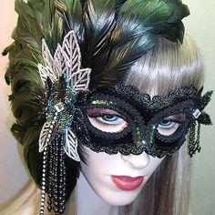 Opera Masquerade mask by Gypsy Renaissance - black velvet, dark green feathers, crystal appliques, and beads. Gorgeous mask for many occasions such as sweet 16, wedding, quinceaneras, black tie event, Halloween, new years eve, and high fashion ball