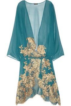 Mezza Luna lace-appliquéd silk-chiffon robe by Rosa Mosario colors Belle Lingerie, Designer Lingerie, Luxury Lingerie, Vintage Lingerie, Sexy Lingerie, Lingerie Silk, Bustiers, Beautiful Lingerie, Pretty Lingerie