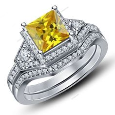 14K White Gold FN 2.CT Princess Yellow Sapphire Prong Set Womens Bridal Ring Set #aonejewels