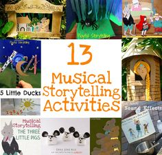 Musical Storytelling Activities for Kids. this picture provide some different activities for kids to learn a story and it also give teachers some ideas for storytelling, such as using some board and draw some picture to show the story. Music Lessons For Kids, Singing Lessons, Music For Kids, Singing Tips, Piano Lessons, Preschool Music Lessons, Art Lessons, Kindergarten Music, Teaching Music