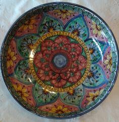 Ciotola / Spaghettiera / Insalatiera in ceramica dipinta a mano. Dec. Geo/Floris, by ilciliegio, 18,00 € su misshobby.com