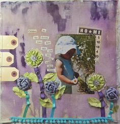Children are like flowers…a layout on canvas using acrylic paint