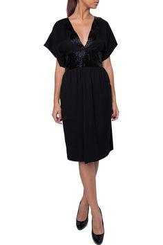 Black knee length dress with short sleeves a deep v-neckline and an embellished waist.  Black Embellished Dress by Antik Batik. Clothing - Dresses Florida
