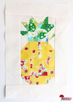 Pineapple Mini Quilt block - free pattern @ Red Brolly