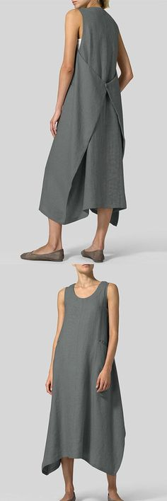 Sleeveless O-neck Back Button Maxi Dress Boho Fashion, Fashion Dresses, Womens Fashion, Fashion Design, Crop Top Outfits, Cool Outfits, Sewing Clothes, Diy Clothes, Creation Couture