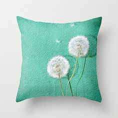 Photo Printed Pillow  Dandelion Pillow  Accent Pillow Cover  Floral Fabric  Turquoise Green  Nature Inspired Home & Office Decor