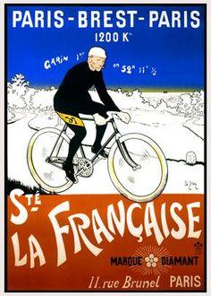 Paris-Brest-Paris - love this poster. Brest, Brittany - A Cyclist's Guide - Freewheeling France Posters Vintage, Retro Poster, Vintage Graphic, Paris Brest Paris, Velo Paris, Bike Poster, Cycle Ride, Vintage Cycles, Posters