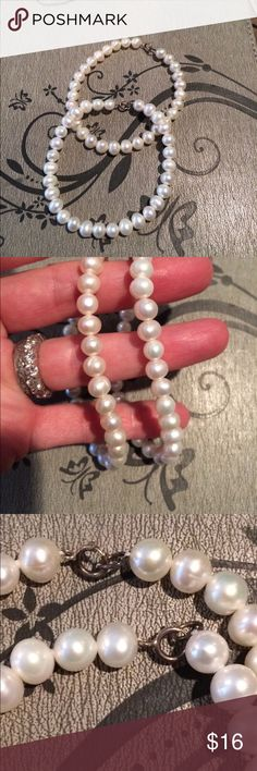 "Two Pearl Bracelets Beautiful matching pair of cultured pearl bracelets, each is 7.5"" long. These are nice, heavy bracelets and will add class to any outfit. Jewelry Bracelets"