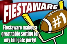 A fiestaware football promo you will only see at the Rebel Dish Barn in Tennessee@