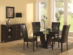 """Round Glass Dining Room Tables 48"""" atwood round glass dining table with chairs 