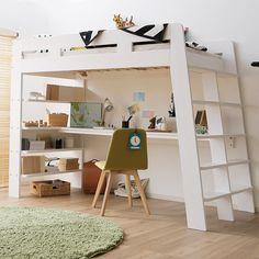 Wooden loft bed [wide desk and side rack integrated type] Bunk Bed Designs, Girl Bedroom Designs, Room Ideas Bedroom, Small Room Bedroom, Bedroom Decor, Loft Beds For Small Rooms, Loft Beds For Teens, Double Loft Beds, Small Room Design