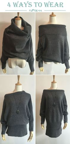 Four ways to wear this sweater,can be positive,also can wear upside down from below. Can it get any better than this? Hot sale at CUPSHE.COM !