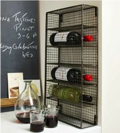 Wine Cage - Organizers - Home Accessories - VivaTerra This would be perfect to hang at the end of our top cupboards! Wire Wine Rack, Wire Racks, Contemporary Wine Racks, Rustic Contemporary, Home Accessories Stores, Wire Storage, Hanging Wire, Decoration, Make It Simple