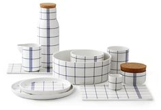 Normann Copenhagen's Mormor ceramic dinnerware...covered with a blue and white windowpane check inspired by old-school dish towels