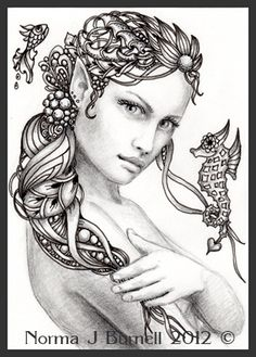 "Fairy Tangles: ""Rayne"" - Fairy-Tangle ACEO Mermaid Drawing"