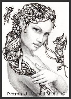 "Fairy Tangles: ""Rayne"" - Fairy-Tangle ACEO Mermaid Drawing"