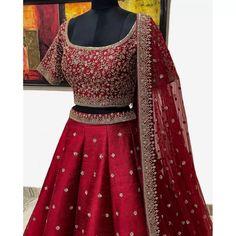 Red phantom silk sequence embroidered work lehenga choli