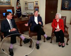 Not even an endorsement from George H.W. Bush -- and his purple socks -- could propel Mitt Romney to victory in the last presidential election. The two Republicans and Barbara Bush met in Houston on March 29, 2012.