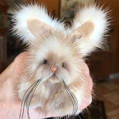 "2.5"" inch mink bunny rabbit by Kimbearlys. Always using vintage jackets. Giving life back. Never taking it. kimbearlys.com"
