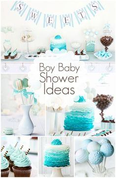Awesome Boy Baby Shower Ideas   I Really Like The Cake And Cupcake. The Gradient  And Color Is Less Of The Typical Baby Blue And More Towards The Teal Color  I Was To ...