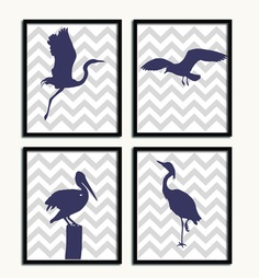 Pelican silhouette Modern beach house art Nautical bird Bedroom wall decor Blue & grey Chevron art Childrens Art Print. $12.00, via Etsy.