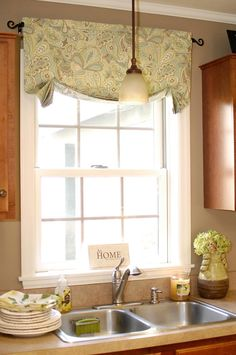 Curtain Ideas For Kitchen Window.Simple Farmhouse Window Treatments Farmhouse Home . Kitchen Valance With Caf Curtain Home Decoration DIY . Close Up Of The Roman Blind On A Sash Window Roman . Home and Family Kitchen Window Valances, Kitchen Window Sill, Kitchen Curtains, Valance Window Treatments, Kitchen Window Treatments, Window Coverings, Curtains Over Blinds, Valences For Windows, Easy Curtains