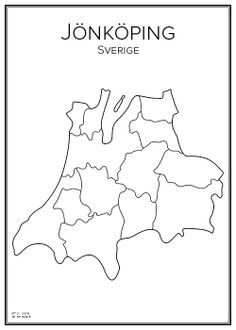 Jönköping. Sweden. Map. City print. Print. Affisch. Tavla. Tryck. Geography Map, Around The Worlds, History, City, Prints, Maps, Graphics, Design, Create