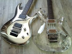 Rare Ibanez Joe Satriani limited edition guitars: JS-10th Chrome Boy #182 & JS2K-PLT Joe Satriani Limited Crystal Planet Millennium Edition
