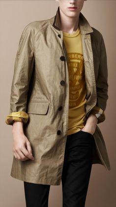 Burberry Brit men cotton blend rain coat