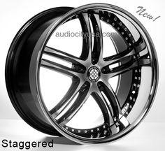 "20""22"" XIX Wheels Rims X15 Black Machine For Mercedes Benz Audi Staggered   #AudioCity"
