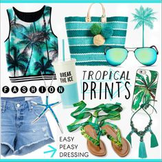 Hot Tropics * Turquoise Outfit by calamity-jane-always on Polyvore featuring rag & bone/JEAN, Mar y Sol, Lanvin, Kate Spade, Ray-Ban, WALL, tropicalprints, fashionset and hottropics