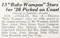 1926: WAMPAS BABY STARS of 1926 - Exhibitors Herald (Dec 19, 1925); Mary Astor, Mary Brian, Joyce Compton, Dolores Costello, Joan Crawford, Marceline Day, Dolores del Río, Janet Gaynor, Sally Long, Edna Marion, Sally O'Neil, Vera Reynolds, Fay Wray