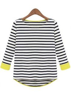 Cute Three Quarter Sleeve Round Collar Striped Tees j crew vest would go over top!