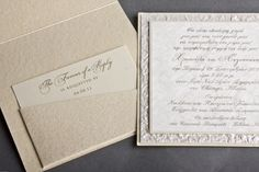 """""""London"""" wedding invitations, available in ivory and cranberry, with champagne offset lithography and matching ivory pearl paper envelopes, by Papagraphics"""