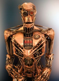 "The Droid by  22zddr 31,5"" x 86,6"" (80x220cm) 230kg solid steel #Sculpture #Robot"