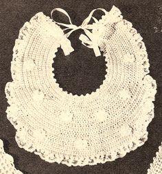 Vintage Crochet PATTERN Baby Bib Fancy Christening FloweredBib, $5.99