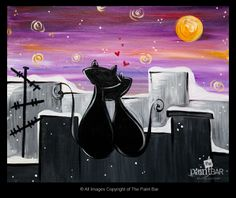 City Cats in Love Painting - Jackie Schon, The Paint Bar