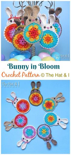 Crochet Bunny Applique Free Patterns: Easy and Quick Easter Bunny / Rabbit Applique and Motifs crochet pattern most free for Easter crochet decoration Crochet Bunny Pattern, Crochet Animal Patterns, Free Crochet, Crochet Hats, Applique Patterns, Crochet Granny, Crochet Baby Mobiles, Crochet Mobile, Easter Bunny Images